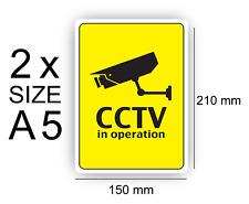 A5 CCTV in operation self Adhesive Vinyl Sign Waterproof