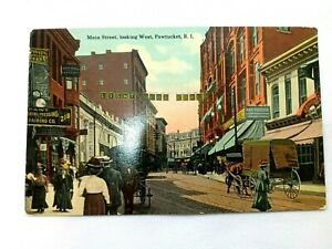Vintage Postcard Main Street looking West Pawtucket RI Horse and Carriage