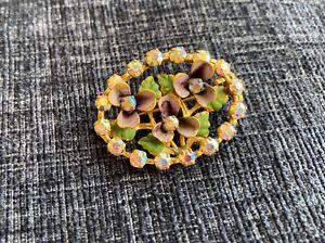 Vintage Violet Enamel Flowers Suffragette Brooch