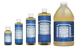 NEW Dr. Bronner's Pure-Castile Soap Liquid Hemp Peppermint All Size Dr Bronners