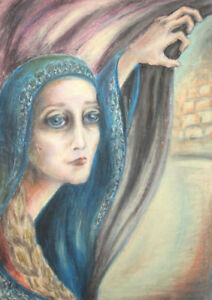 Modernist pastel drawing female portrait