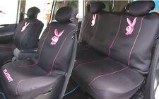 Playboy Car Seat Cover Front & Rear Metallic Pink on Black Mesh full set M