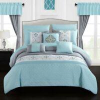 Jurgen 20-Piece Floral Embroidered Bed in a Bag Bedding and Comforter Set