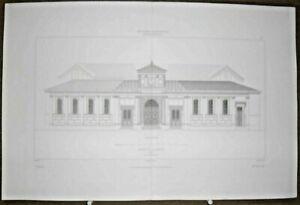 Gravure d' Architecture Mairie de Vincennes Façade principale