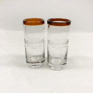 "2 pc Tequila Cazadores Liquor Brown Top Rimmed Handblown Shot Glass 3 3/4"" Tall"