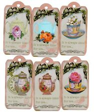 12  LARGE Handmade tags toppers - TIME FOR TEA - floral vintage 10cm x 5cm