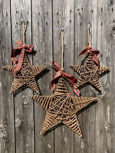 Wicker star with ribbon, Christmas star hanging, small, medium and large