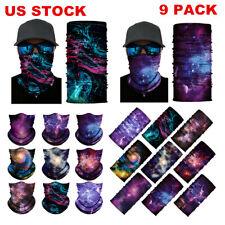 9pcs/set Face Neck Gaiter Bandana Cover Scarf Balaclava Reusable Headwear Lots