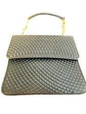 Authentic BALLY Quilted Gold Logo B Handle Hand Bag Black Leather Italy Vintage