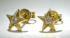 14k Yellow Gold Small Star Shape Tiny Stud Earrings Round CZ's