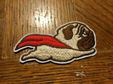 "Super Pug with a Cape Embroidered Patch 2.5"" x 1.5"" sew or Iron On Flying Dog"
