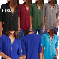 UK Size6-24 Lady Chiffon Zip V neck Tee Shirt Blouse Sweatshirt Short Sleeve Top