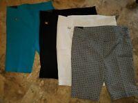 NWT Womens Rafaella Comfort Shorts Black White Blue Bermuda Stretch Casual