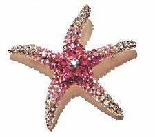 PINK CRYSTAL STARFISH BROOCH rhinestone sea star shell mermaid ocean pin gold 2G