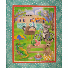 Australian Animals Emu Koala Kangaroo Caravan Kids Quilt Fabric Panel *New*