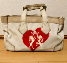 Vivienne Westwood White Canvas Tote Bag ' Anglophilia ' Free Shipping from JAPAN