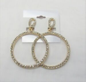 Gold Plated Rhinestone Crystal Dangle Drop Round Circle CLIP ON Earrings #0425