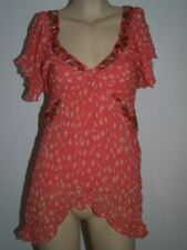 NEW EX RIVER ISLAND PINK CORAL STAR PRINT & SEQUIN BLOUSE TOP TUNIC SIZE 8