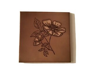 """Vintage Ceramic Wall Tile Brown Shiny England Floral 4.25"""" New Open Stock 1950's"""