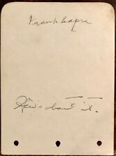 FRANK CAPRA & KENT TAYLOR Dual AUTOGRAPHED SIGNED ALBUM PAGE 1930's How About it