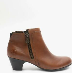 Rieker 70551-24 Ladies Womens Autumn Casual Office Leather Ankle Boots Chestnut