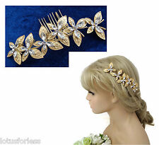 Stunning Butterfly Hair Comb Slide Hair Vine with Diamante in Brushed Gold Tone