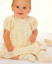 "Baby Wrapover Dress & Socks 16"" - 20"" 4 Ply  Knitting Pattern"