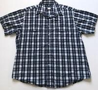 Vtg Wrangler Sz XXL Blue Green Plaid Pearl Snap Cowboy Western S/S Shirt sz 2XL