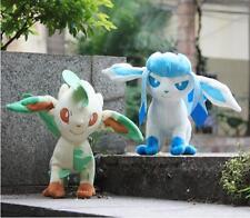 "2Pcs 8"" Pokemon Glaceon*Leafeon Plush Toy Grass Fluffy Cute Stuffed Animal Doll"