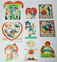 Vtg 1930-40s Valentine Cards Die Cut Lot Of 9 #5 Girls Boys Train