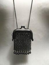NWT AllSaints mesh bag necklace dark silver oxidized charm on chain