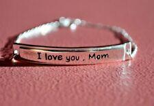 925 Sterling Silver Bar Valentine Message I Love You Mom Bracelet w Extension