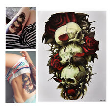 Waterproof Skull and Rose Temporary Tattoo Large Arm Body Art Tattoos Sticker HG