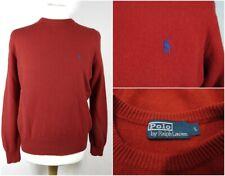 RALPH LAUREN Polo Men's Dark Red Lambswool Jumper Sweater Size Large Crew Neck