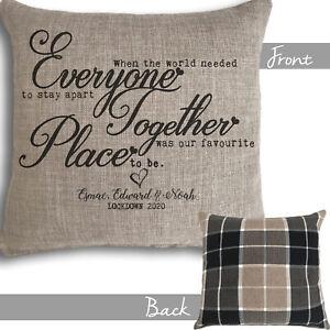 Personalised Cushion Lockdown2020 Gift Isolation Family Tartan Mom Dad Christmas