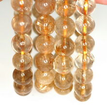 11MM GOLD RUTILATED QUARTZ GEMSTONE GRADE AA ROUND 11MM LOOSE BEADS 7""