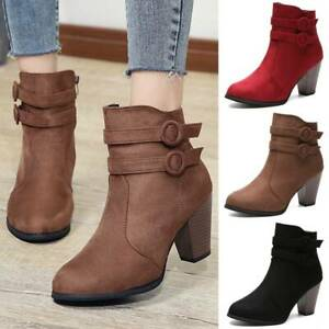 Womens Winter Chunky Block Heels Ankle Boots Zip High Heel Fashion Booties Shoes