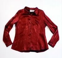 Vintage Bentley Women's Red Iridescent Button Down Shirt Long Sleeve Size Large