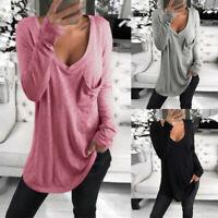 Mode Femme Haut Tops Décontracté lâche Mince Manche Longue Poche Tops Shirt Plus
