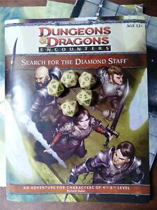 D&D 4e Search for the Diamond Staff and 5 Exclusive Dice #HR