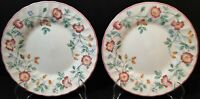 """Churchill Briar Rose Salad Plates 8"""" Red Flowers England Set of 2 Excellent"""