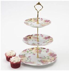 3 TIER VINTAGE FLORAL CERAMIC CAKE STAND SERVING TABLEWARE DISPLAY