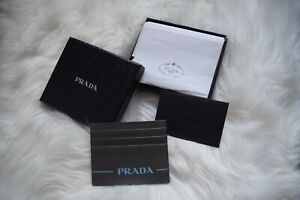 Prada Men's leather Card Holder. Grey. Brand New in Box with Authenticity Card.