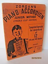 Zordan's Piano Accordion Junior Method Treble Clef Edition- Vintage Copy 1937