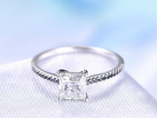0.5ct Princess Cut Diamond Black Solitaire Engagement Ring 14k White Gold Over
