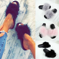 Ladies Womens Flat Fur Fluffy Sliders Slippers Slip On Flip Flops Shoes Size New