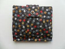 Handmade Tea Bag Wallet Brown with Coloured Leaves 100% Cotton Fabric