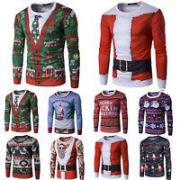 Mens Christmas Costume 3D Print Long Sleeve T-Shirt Casual Tops Tee Xmas Gift