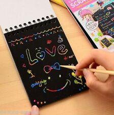 Rainbow Scratch Pen Art Kit kids Childrens Craft Set notebook Paper pad gift new