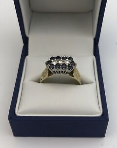 Gorgeous 18k Gold Sapphire & Diamond Cluster Ring.  Size T1/2 London 1975